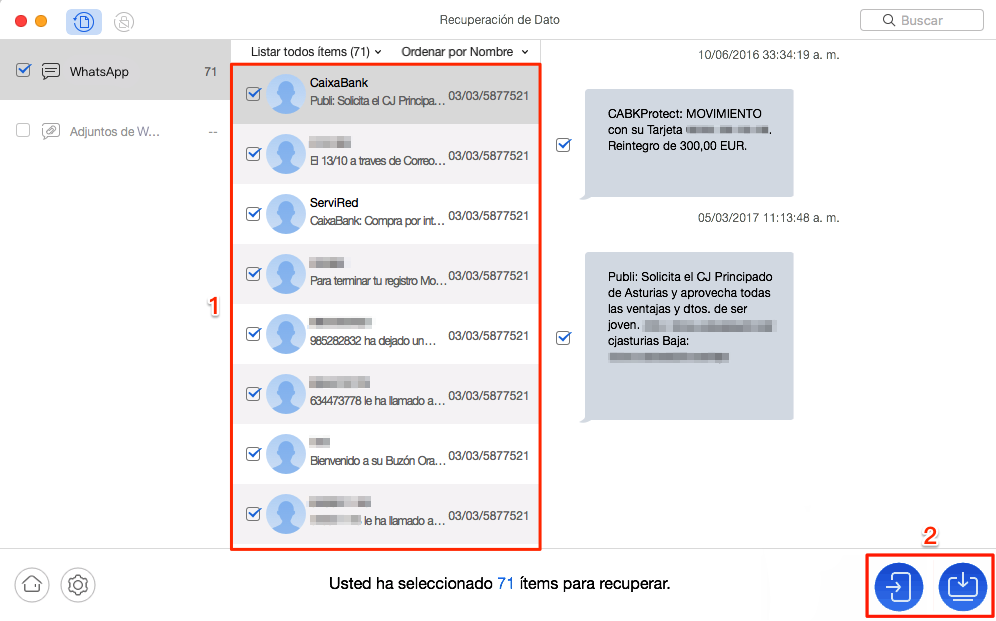 Recuperar mensajes deseadas de WhatsApp en Android - Paso 3