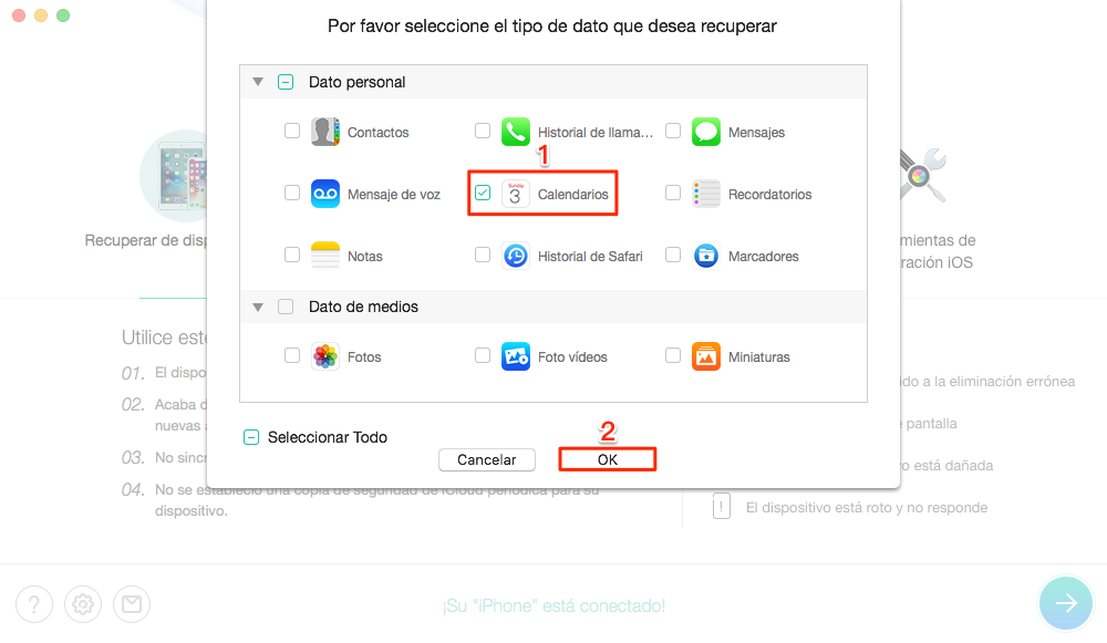 Cómo recuperar calendario iPhone sin copia de seguridad - Paso 2