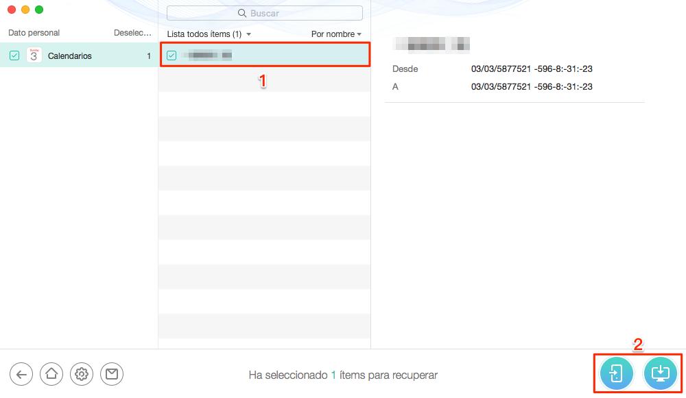 Cómo recuperar calendario iPhone sin copia de seguridad - Paso 3
