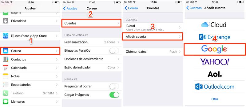 Recuperar contactos borrados iPhone desde Gmail