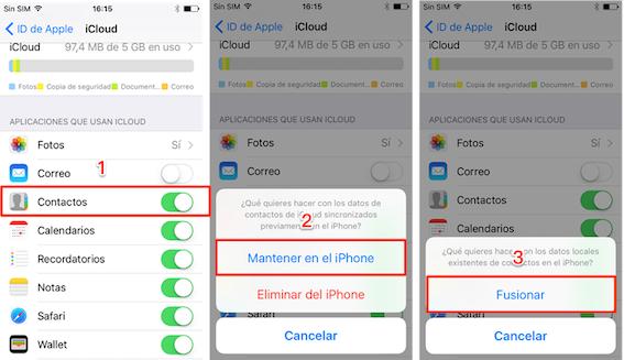 Recuperar contacto borrado iPhone con iCloud
