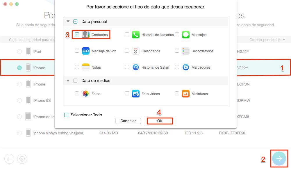 Recuperar contactos borrados iPhone con copia de seguridad iTunes - Paso 2