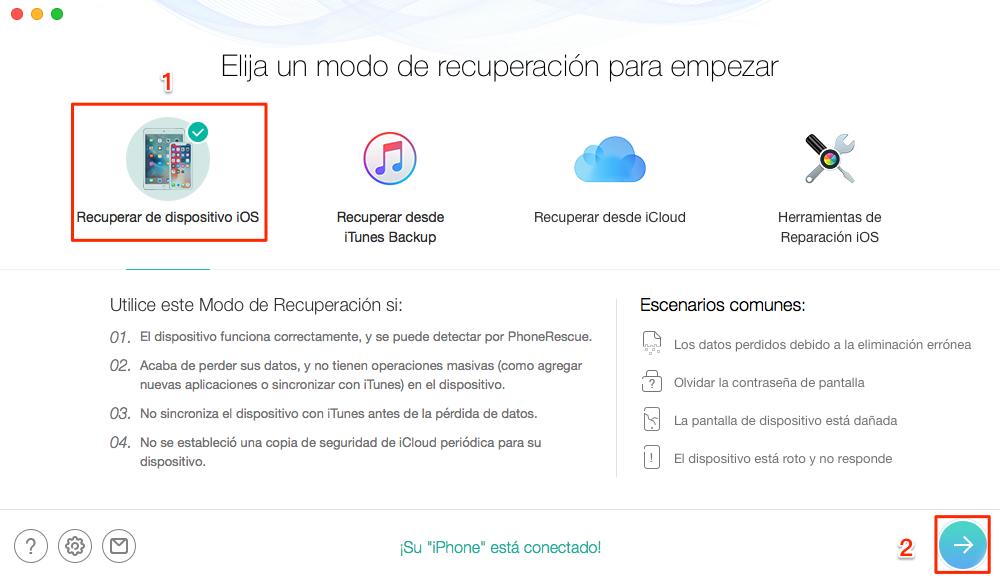 Cómo recuperar mis contactos del celular iPhone sin copia de seguridad - Paso 1