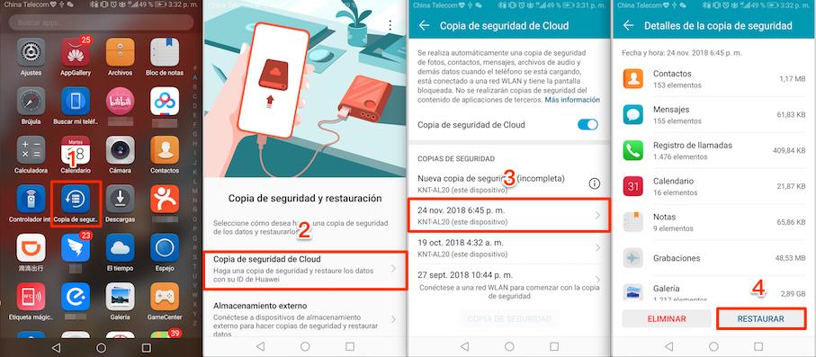 Recuperar contactos de celular Android según restaurar la copia