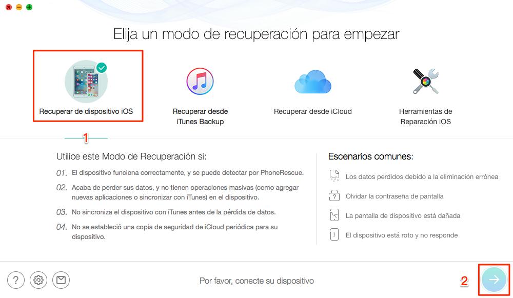 El mejor software de recuperación de datos de iPhone - PhoneRescue para iOS