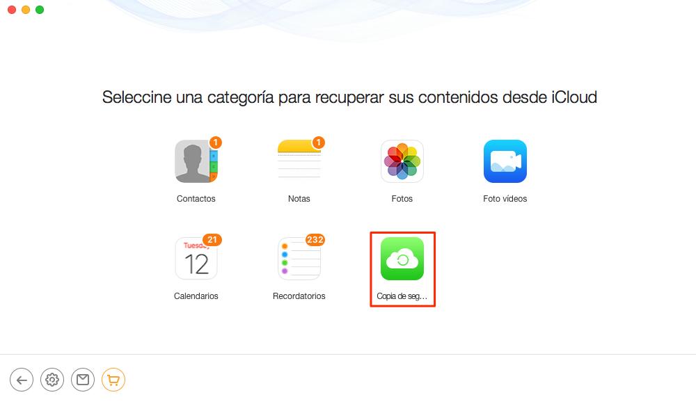 Elige Copia de seguridad de iCloud- Paso 3