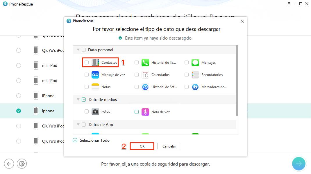 Buscar mi iPhone perdido - Marca los datos necesitas en iCloud / iTunes copia
