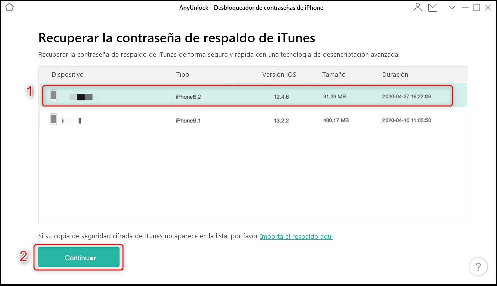 Cómo recuperar contraseña copia de seguridad iPhone - Paso 2
