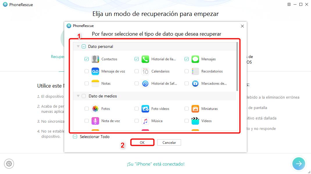 Cómo recuperar datos desde iPhone roto - Paso 2