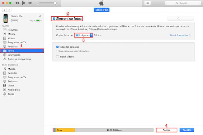 Recuperar fotos borradas del móvil iPhone desde iTunes copia
