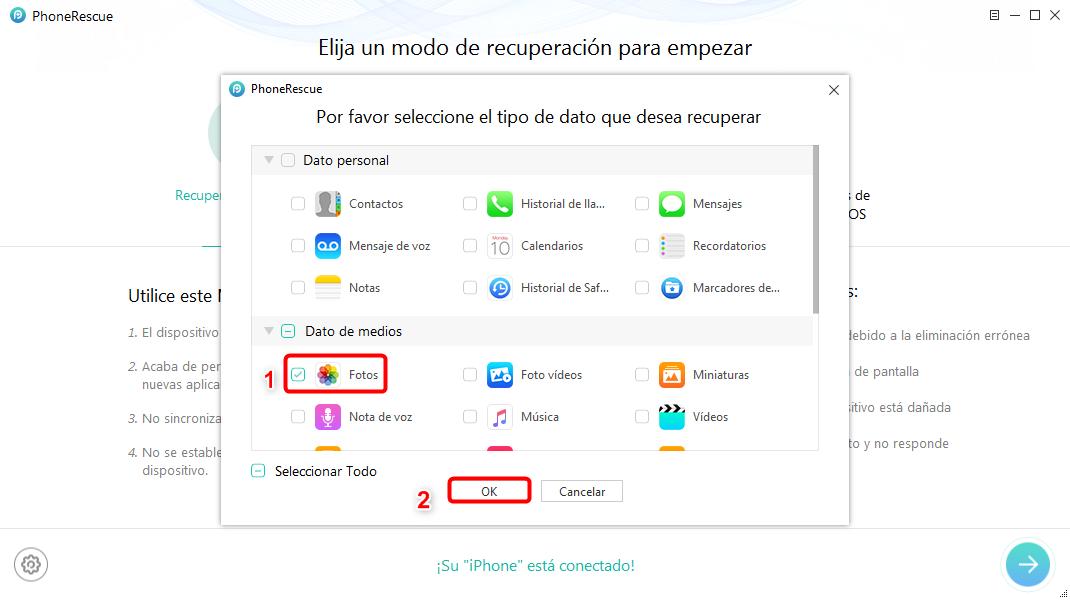 Recuperar fotos borradas del móvil iPhone sin copia de seguridad - Paso 2