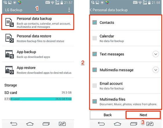 Cómo recuperar fotos borradas del celular LG con copia de seguridad - Paso 2