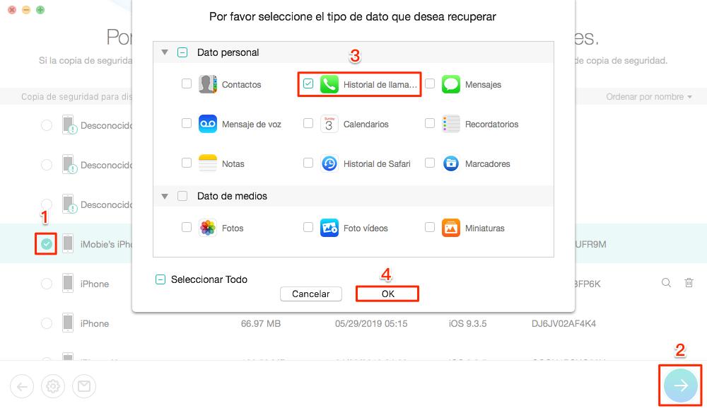 Elige una copia de seguridad iTunes que contiene las historial de llamadas - Paso 3