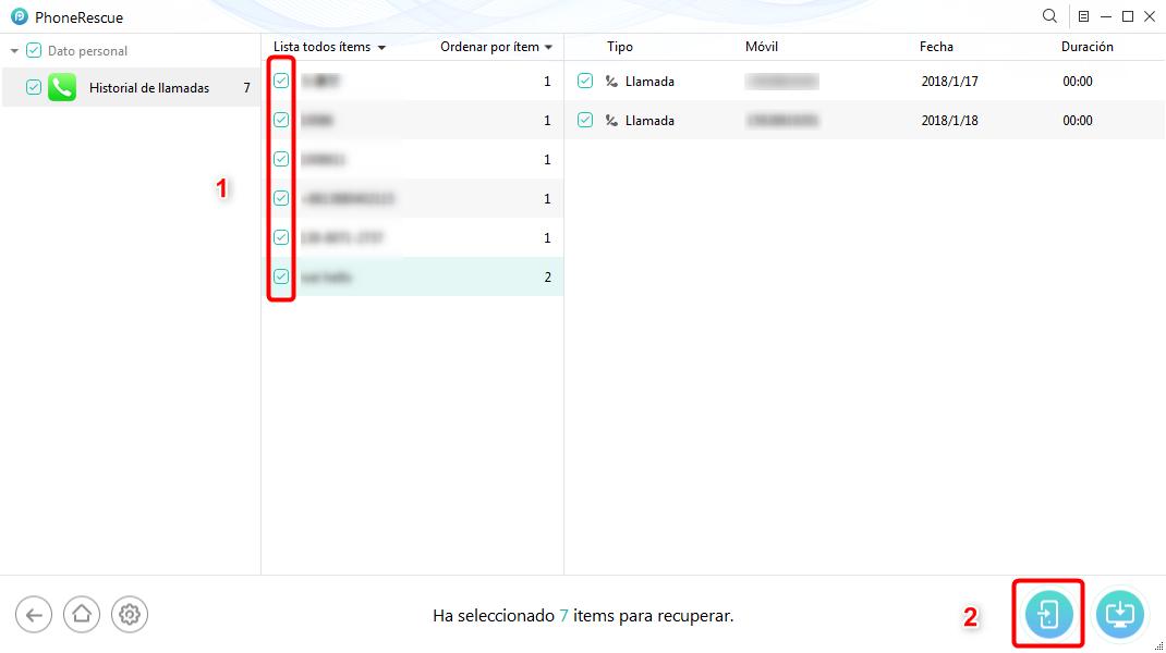 Cómo recuperar llamadas borradas iPhone desde las copias sin restaurar - Paso 3
