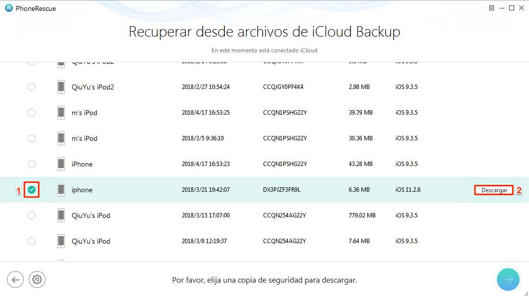 Descargar una copia de seguridad de iCloud - Paso 3