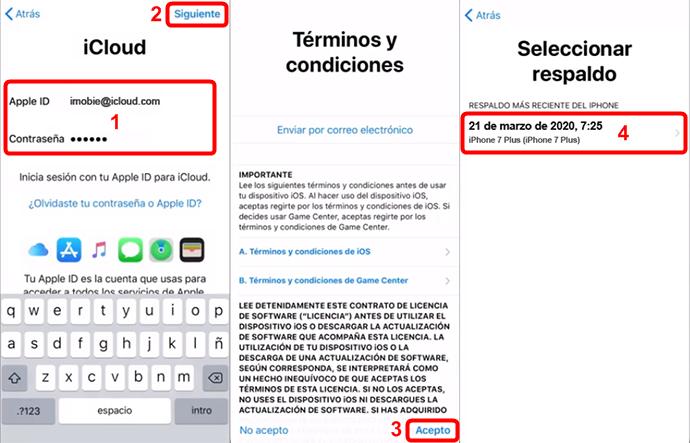 Restaurar copia de seguridad de iCloud desde el iPhone