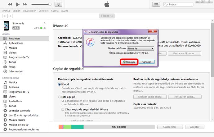 Restaurar copia de seguridad de iCloud desde iTunes