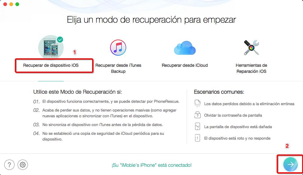 Recuperar los mensajes borrados en tu iPhone - Paso 2
