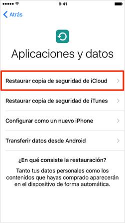 Recuperar conversaciones de WhatsApp iPhone por restablecer el teléfono - Paso 2