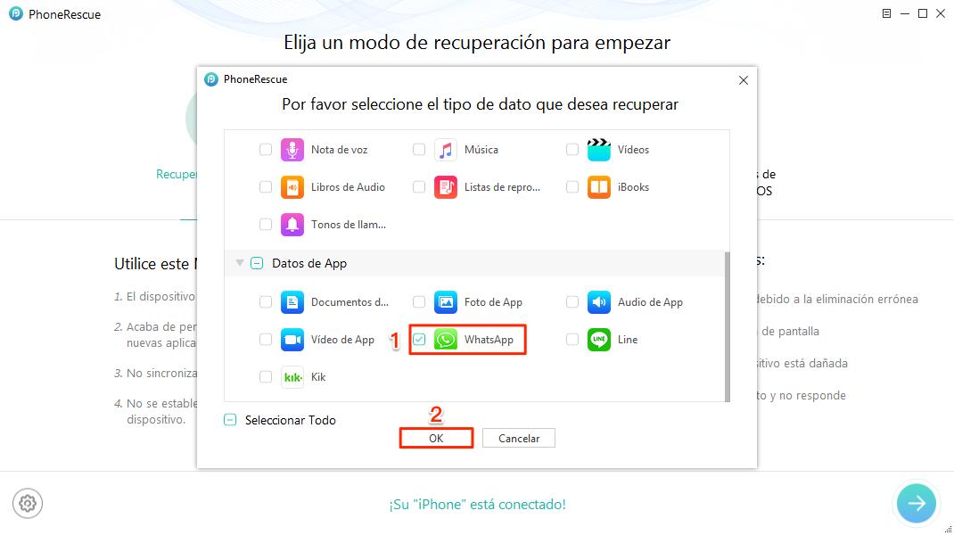 Recuperar conversaciones de WhatsApp iPhone sin copia de seguridad - Paso 2