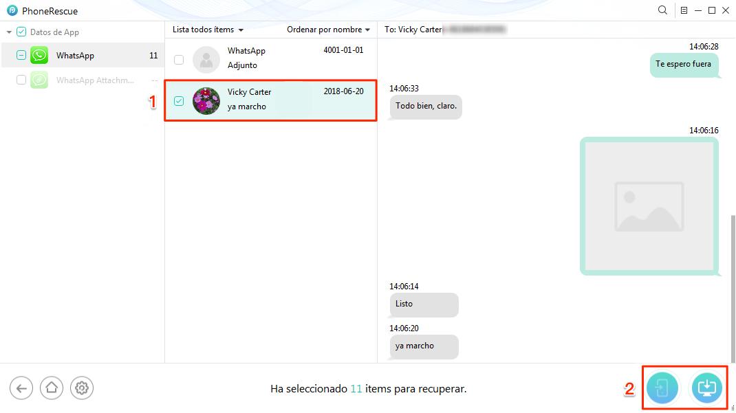 Recuperar conversaciones de WhatsApp iPhone sin copia de seguridad - Paso 3