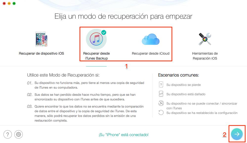 Recuperar selectivamente conversaciones de WhatsApp con iTunes /iCloud copia - Paso 1