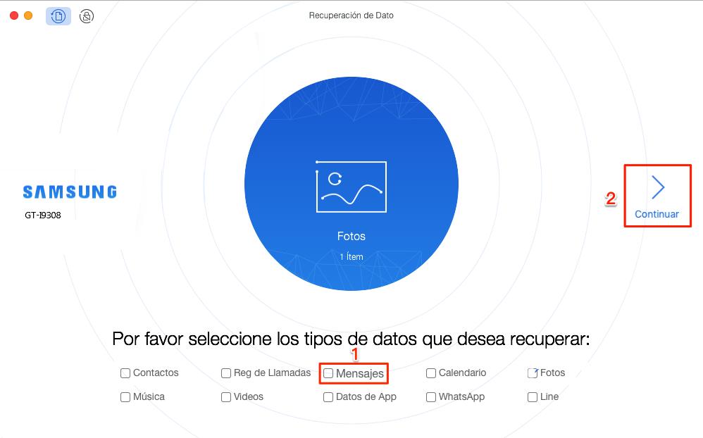 Cómo recuperar mensajes de texto borrados de un celular Samsung sin copia - Paso 1