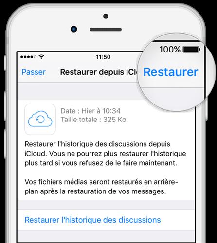"""Toca la opción """"Restaurar"""" para restaurar los mensajes de tu aplicación"""