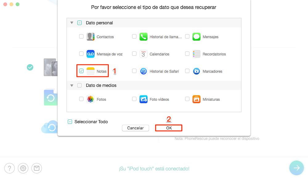 Recuperar notas borradas iPhone sin copia de seguridad - Paso 3