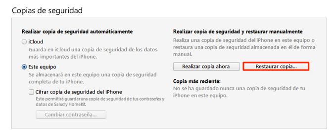 Recuperar notas borradas iPhone con iTunes copia