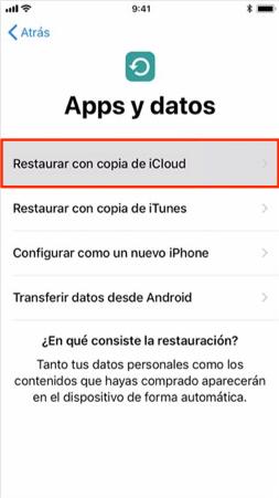 Recuperar notas iPhone con iCloud copia