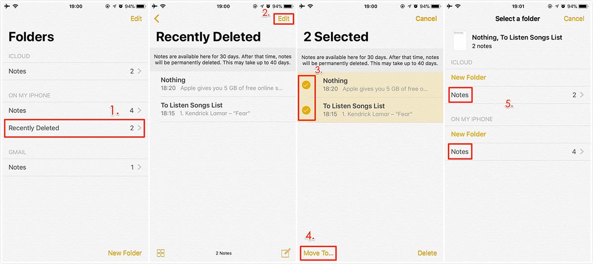 Cómo recuperar notas en iPhone con recientemente eliminado