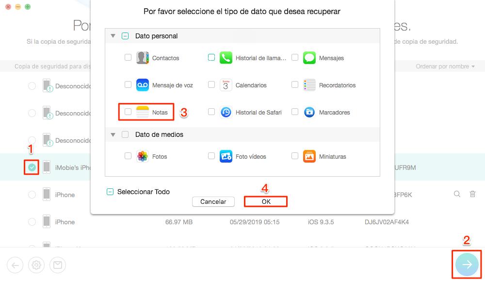 Cómo recuperar notas eliminadas iPhone de la copia de seguridad de iTunes - Paso 3
