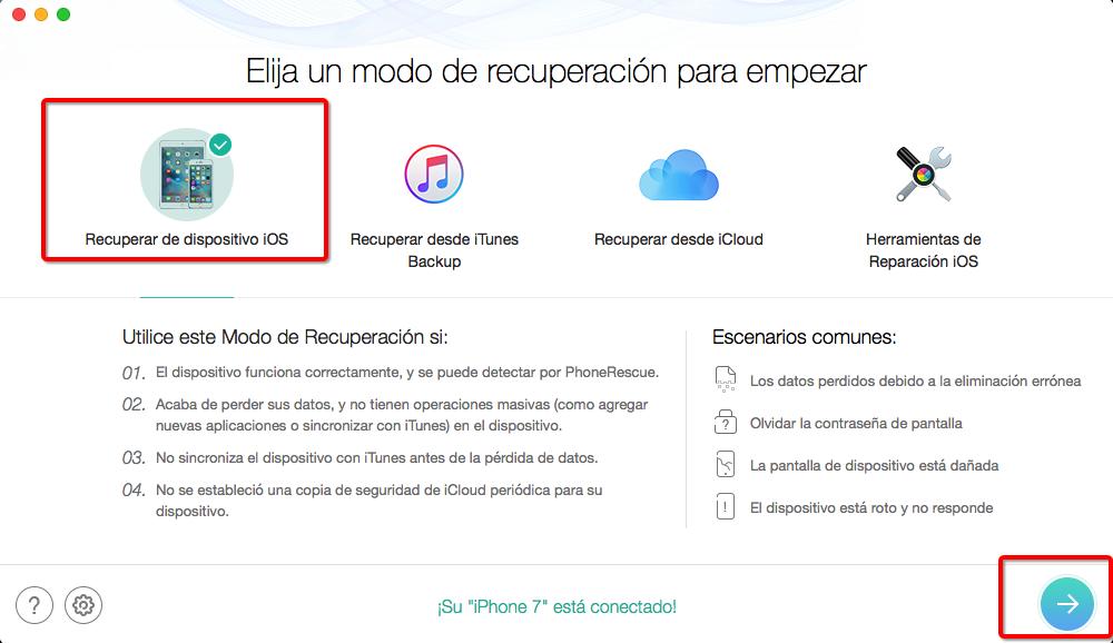 Cómo recuperar las notas borradas de iPhone con PhoneRescue – Paso 2