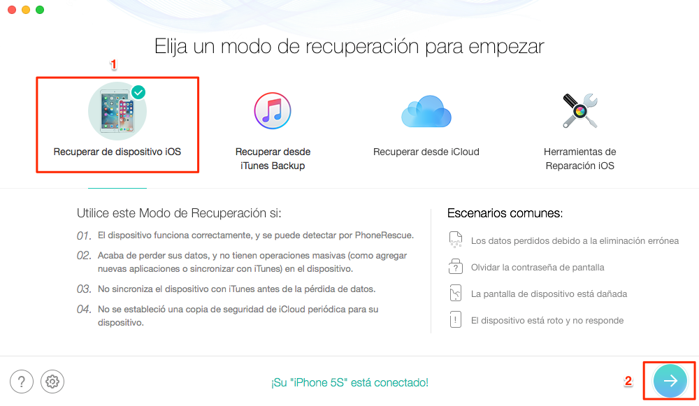 Cómo recuperar notas de voz de iPhone sin copia de seguridad - Paso 1