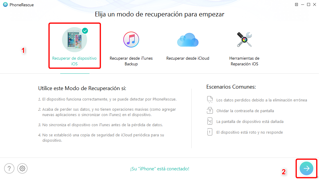 Cómo recuperar video borrado de iPhone sin copia de seguridad - Paso 2