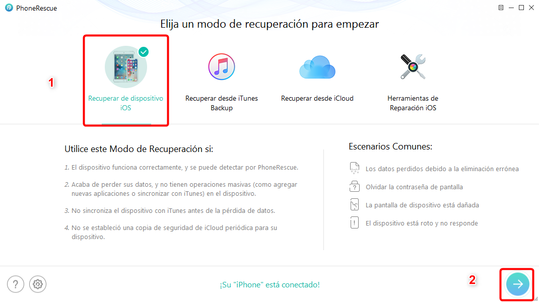 Programa para recuperar videos borrados del celular iPhone - Paso 2