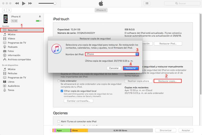 Cómo recuperar videos borrados del móvil iPhone con iTunes copia