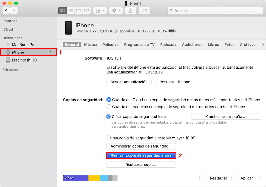 Realizar copia de seguridad con iTunes antes de restaurar iPhone