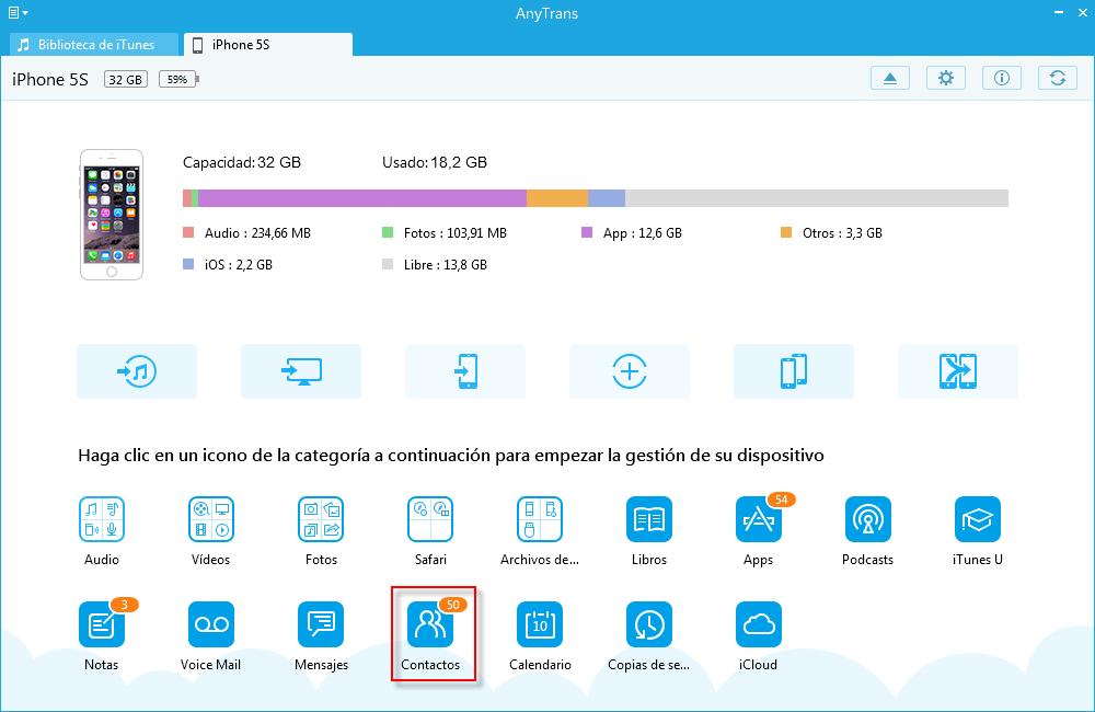 Cómo hacer copia de seguridad de contactos del iPhone a PC / Mac - Paso 2