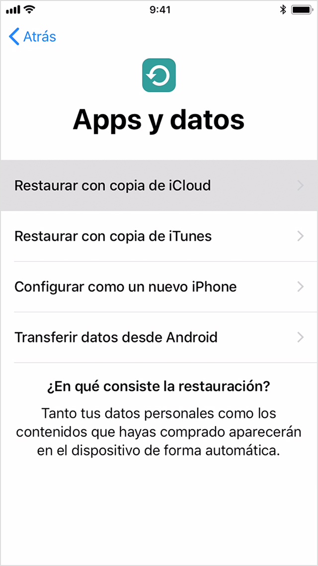 Restaura tu iPhone con una copia de seguridad de iCloud