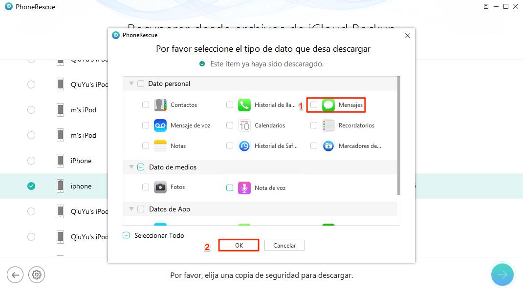 Restaurar iPhone desde iCloud selectivamente – Paso3