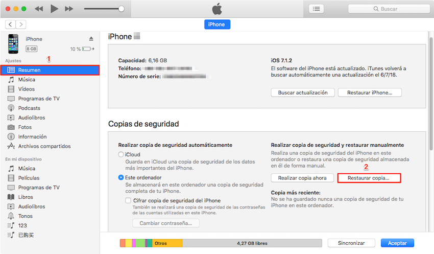 RRestaurar iPhone con iTunes - Paso 1