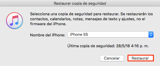 RRestaurar iPhone con iTunes - Paso 2