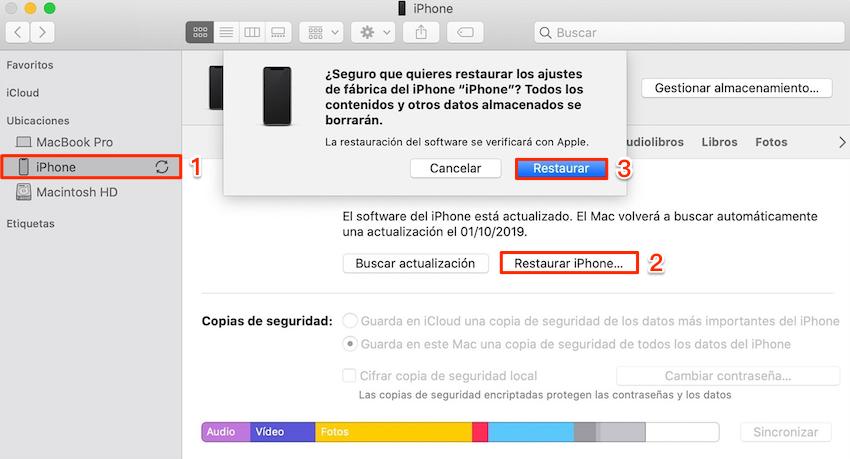 Cómo restaurar iPhone desde PC / Mac