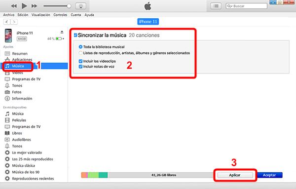 Sincronizar contenido de iPhone a iTunes