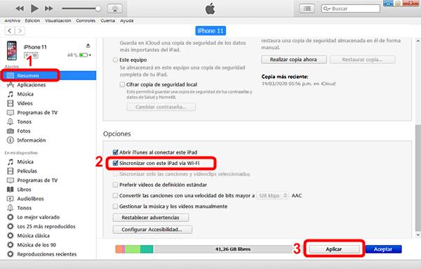 Sincronizar contenido de iPhone a iTunes mediante Wi-Fi