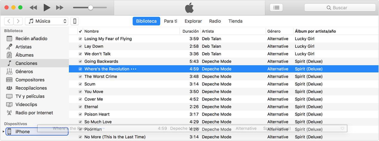 Arrastrar canciones desde iTunes a iPhone