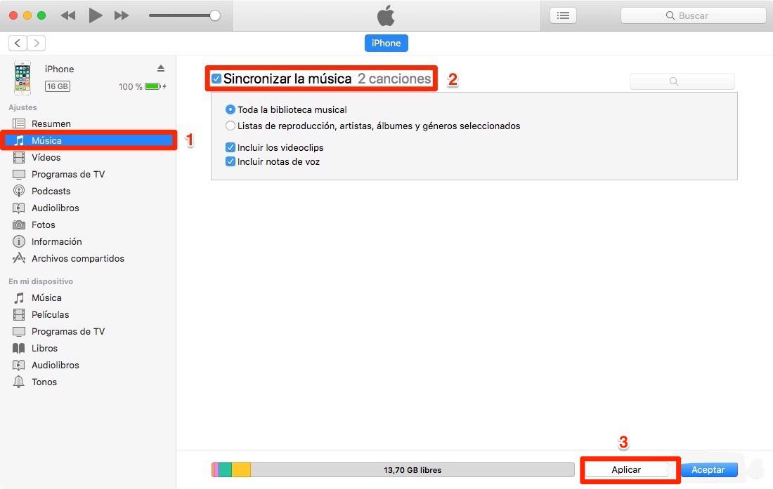 Sincronizar iTunes con iPhone