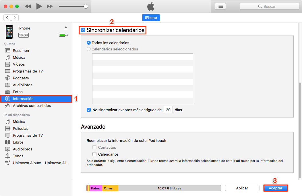 Sincronizar calendario iPhone con Mac con iTunes - Paso 2
